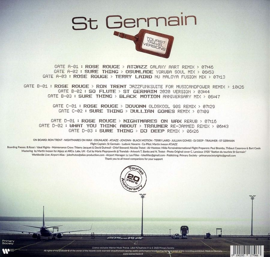 Виниловая пластинка ST GERMAIN TOURIST - (20TH ANNIVERSARY TRAVEL SESSIONS) 2LP 180 GRAM Основное Фото №3